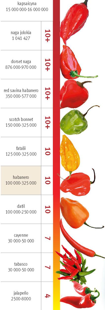 Papryczki chili: kuchnia ostra jak diabli, kuchnia, kuchnie świata, Popularne papryczki na skali ostrości Scoville'a
