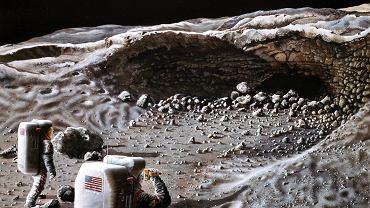 Przyszli zdobywcy Księżyca eksplorują jaskinię. Wizja artysty