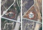 Porównanie zdjęć satelitarnych klasztoru z 2011 i 2014 roku