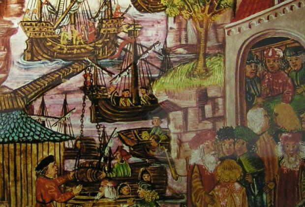 'Nawiązanie współpracy między Lubeką i Hamburgiem' - obraz pochodzący  z XV-wiecznego 'Prawa żeglugowego'. W szczytowym okresie Hanza łączyła  160 miast i niepodzielnie władała cieśninami łączącymi Bałtyk z Morzem Północnym.  Jej statki docierały na północ Zatoki Fińskiej i do atlantyckich portów nad Zatoką Biskajską.