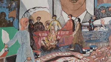 Edi Hila, Malowanie transparentów, 1988, z serii 'Propagaanda', akwarela, tempera, tusz, 29,2 x 23,8 cm. Muzeum Sztuki Nowoczesnej w Warszawie.