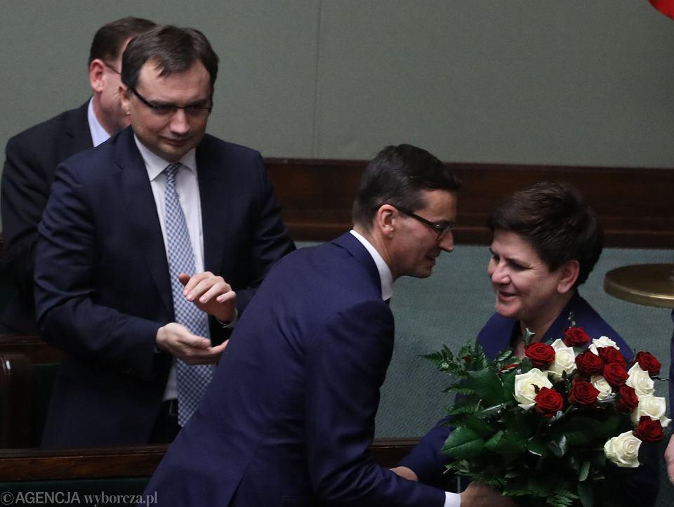 Zbigniew Ziobro, Mateusz Morawiecki i Beata Szydło.