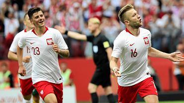 Dawid Kownacki i Jakub Błaszczykowski podczas meczu towarzyskiego Polska - Litwa na Stadionie Narodowym. Warszawa, 12 czerwca 2018