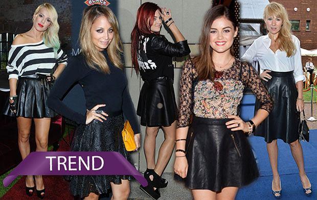 Focus na trend: czarne skórzane spódnice. Jak noszą je gwiazdy?