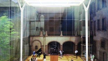 Szklany dach nad dziedzińcem z lapidarium Muzeum Warszawy