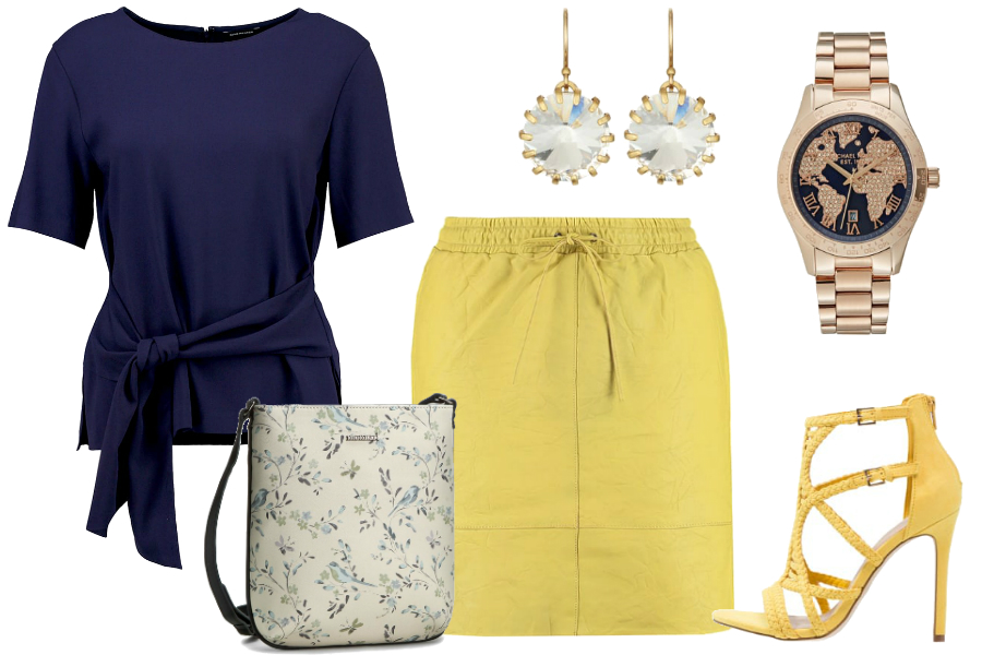 Kolor żółty i chabrowa bluzka / kolaż: mat. partnera