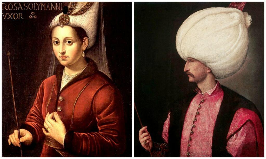 Szesnastowieczny portret Roksolany i pochodzący z tego samego okresu portret Sulejmana Wspaniałego (fot. Wikimedia.org / Domena publiczna)