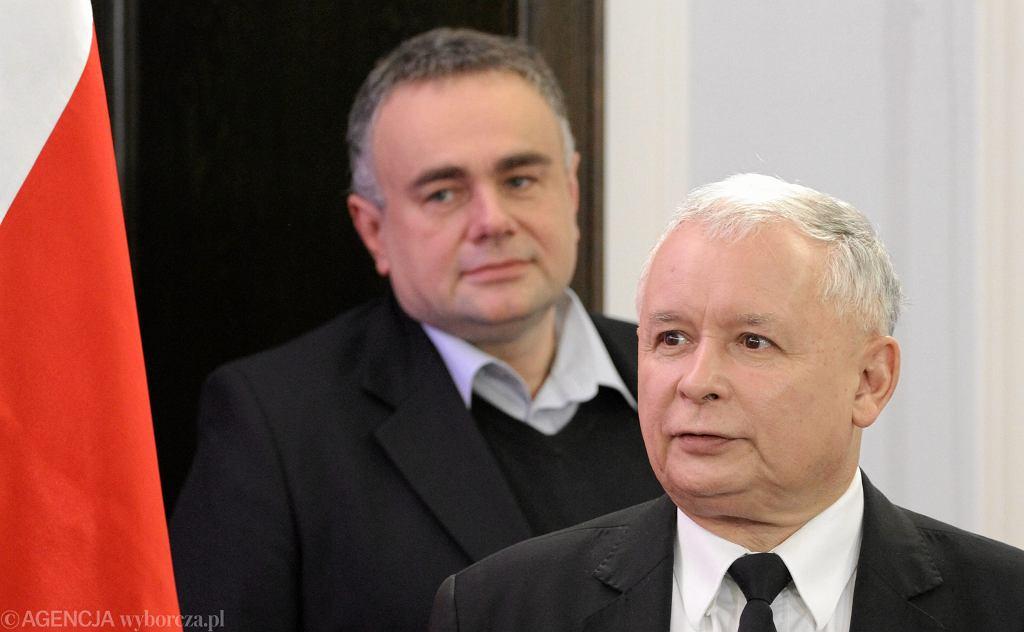 Prezes PiS Jarosław Kaczyński i red. nacz. 'Gapola' Tomasz Sakiewicz