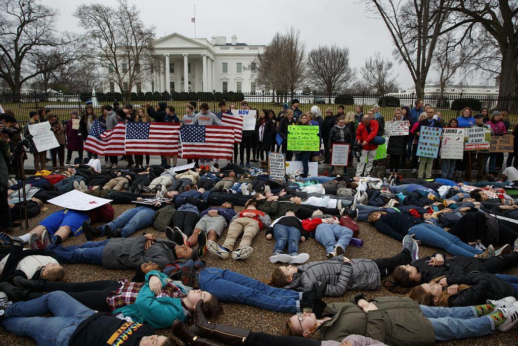 Protest uczniów przed Białym Domem