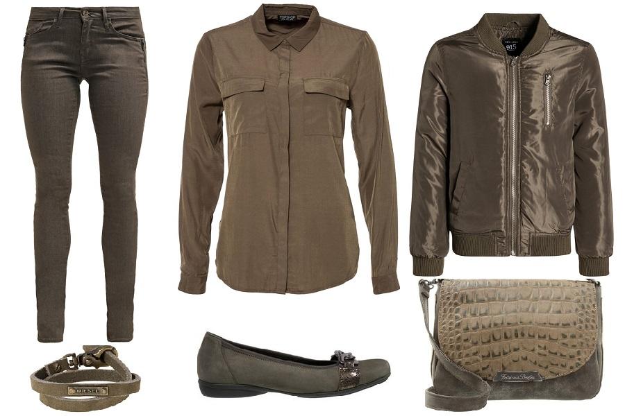 Stylizacje w kolorze khaki i oliwkowym