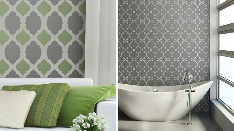 WNĘTRZA - WZORY. Zależnie od koloru, jaki wybierzemy, wzór będzie delikatny, dyskretny albo mocny, dominujący. Ścianę można okleić gotową tapetą z wzorem albo pomalować, używając szablonu.