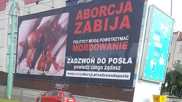 Antyaborcyjny plakat na Śródce