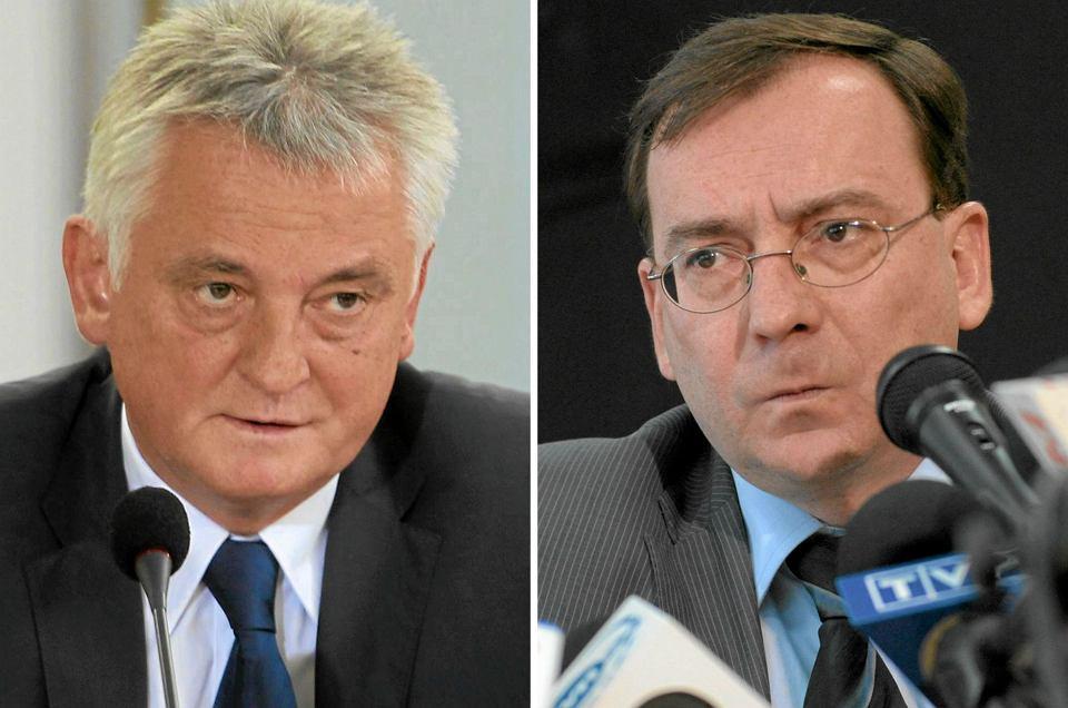 Były szef CBA i wiceprezes PiS Mariusz Kamiński (P) ma przeprosić w TVP i TVN Mirosława Drzewieckiego