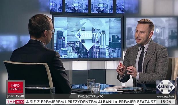 Łukasz Mężyk w programie 'Cztery strony' TVP Info