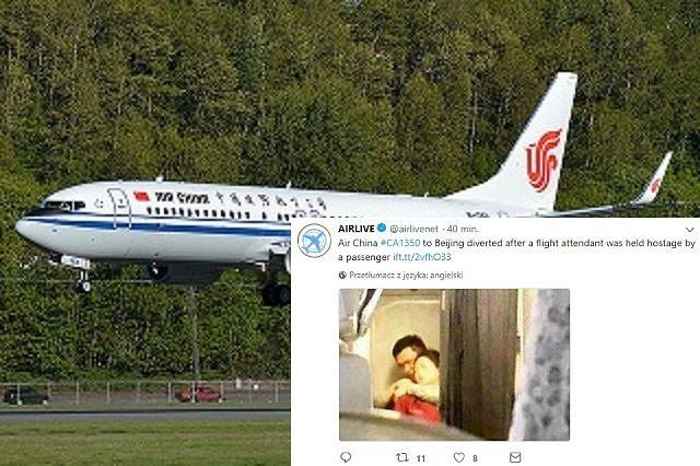 Zaatakował stewardessę wiecznym piórem