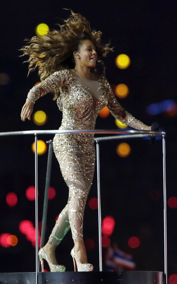 Spice Girls' Melanie Brown performs during the Closing Ceremony at the 2012 Summer Olympics, Sunday, Aug. 12, 2012, in London. (AP Photo/Kristy Wigglesworth)