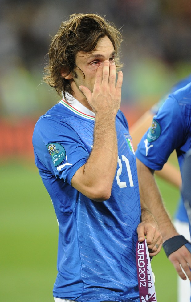 ITAR-TASS: KIEV, UKRAINE. JULY 1, 2012. Italy?s Andrea Pirlo with his silver medal reacts after their lost Euro 2012 final soccer match against Spain (UEFA European Football Championship), at the Olympic Stadium in Kiev. Spain defeated Italy 4 - 0. (Photo ITAR-TASS/ Valery Sharifulin)