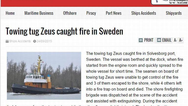 Czterech Polaków zginęło w pożarze na holowniku Zeus w Szwecji