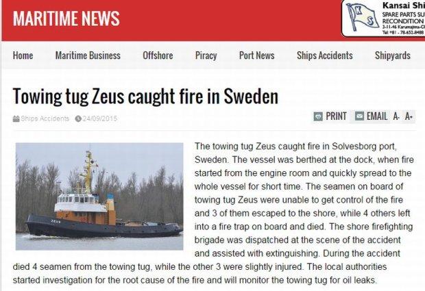 Czterech Polak�w zgin�o w po�arze na holowniku Zeus w Szwecji