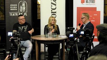 Lublin, Teatr NN. Spotkanie w Akademii Opowieści. Od lewej: Dariusz Jeż, Kasia Michalak i Mariusz Szczygieł