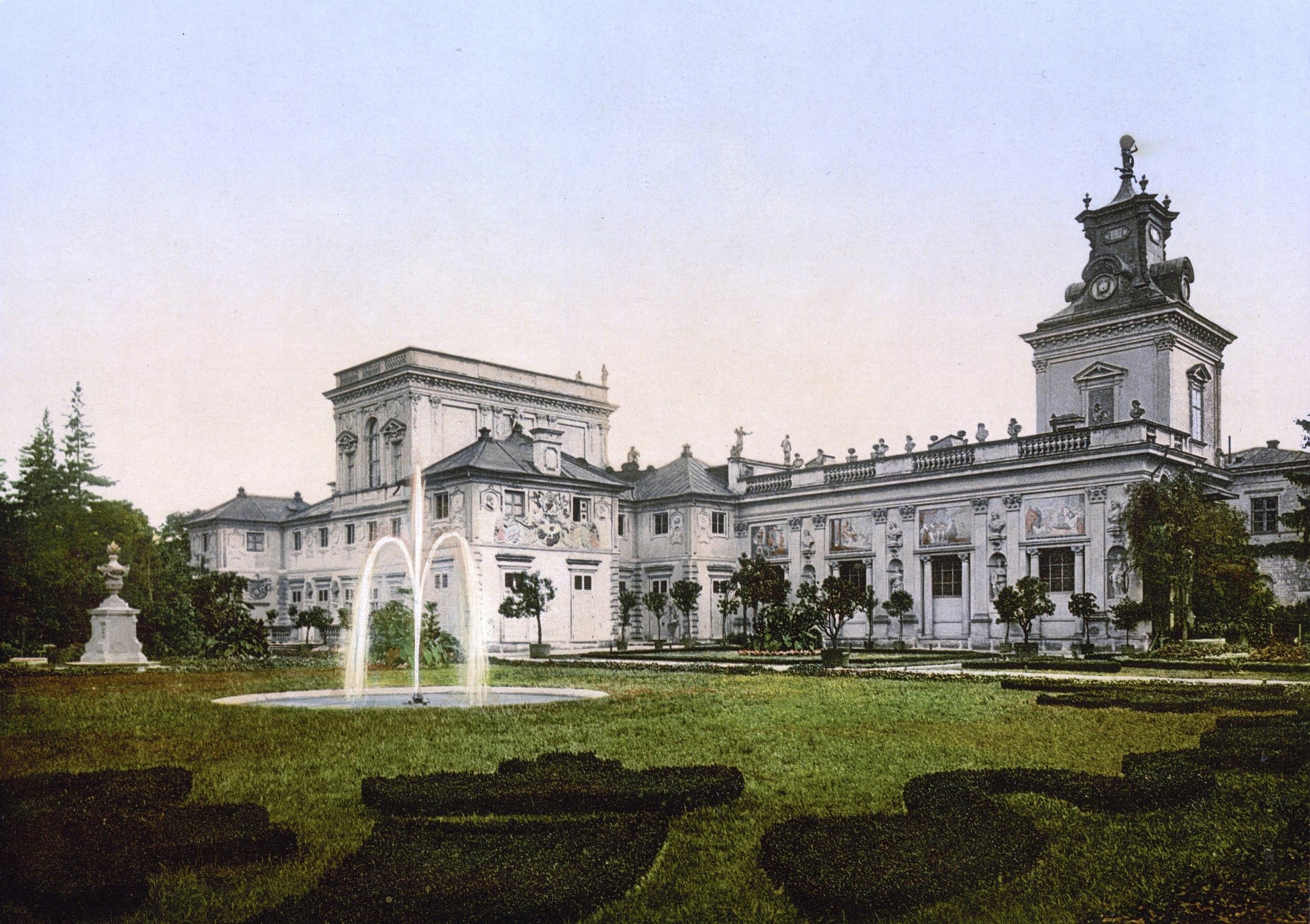 Pałac w Wilanowie na przełomie XIX i XX wieku (fot. autor nieznany / domena publiczna / wikimedia.org)
