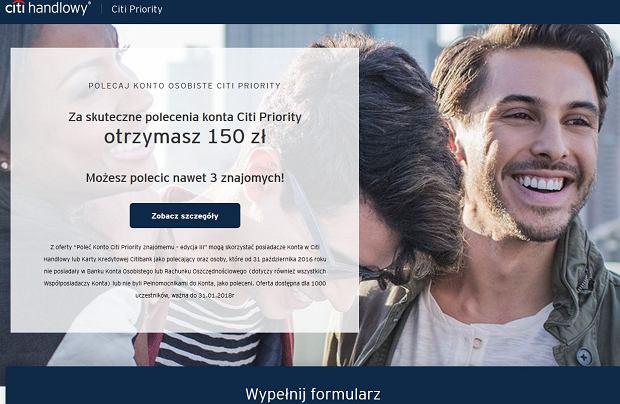 Citi Handlowy - polecający otrzymuje 150 zł premii za każdą skuteczną rekomendację konta, nowy klient do 600 zł zwrotu za zakupy