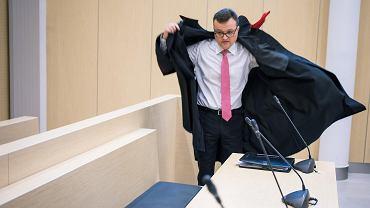 14 listopada 2017 r.Kolejna rozprawa w procesie Aleksandra Gawronika oskarżonego o podżeganie do zabójstwa dziennikarza Jarosława Ziętary. Na zdjęciu prokurator Piotr Kosmaty