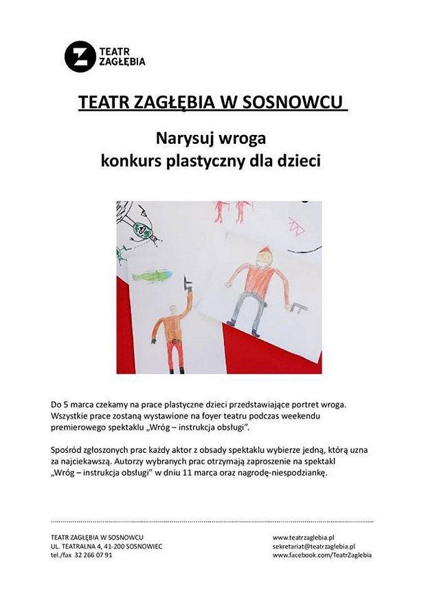 Teatr Zagłębia prosi, więc dzieci rysują wrogów: Niemców, Rosjan i uchodźców