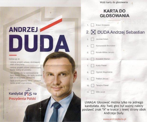Dwie strony ulotki wyborczej kandydata