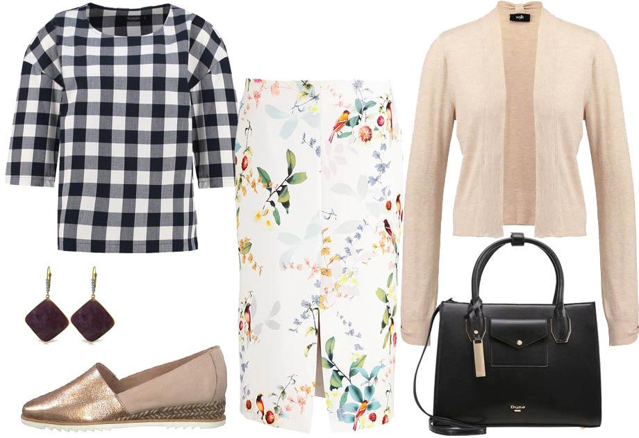 Łączenie wzorów - spódnica w kwiaty i bluzka w kratkę