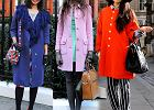 Street fashion: kolorowe p�aszcze na zim�