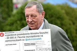 Posiedzenie wyjazdowe z wizytą u ministra Szyszki kosztowało 40 tys. zł. Rzecznik tłumaczy, skąd ta kwota