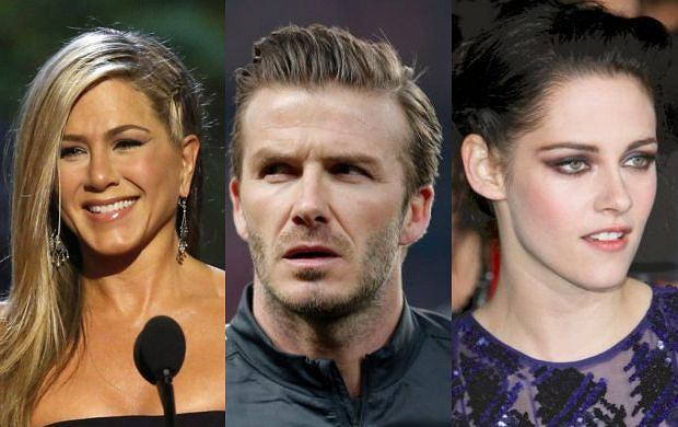 Kristen Stewart, David Beckham, Jennifer Aniston.