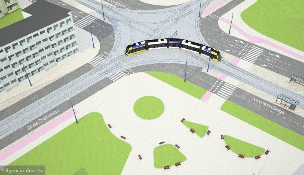 Wizualizacja linii tramwajowej na JAR