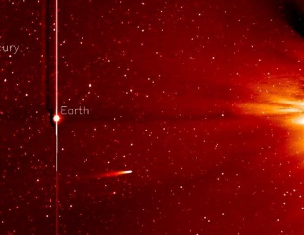 ISON omin�a w odleg�o�ci zaledwie 1,2 miliona km powierzchni� S�o�ca w czwartek o 18:37 czasu Greenwich (odleg�o�� Ziemi od S�o�ca to oko�o 150 mln kilometr�w)