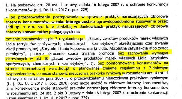 Decyzja UOKiK w sprawie Lidla