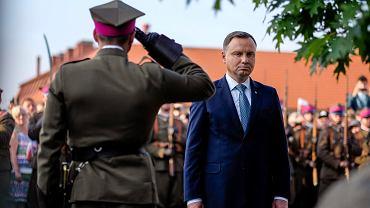 Prezydent Andrzej Duda podczas spotkania z mieszkańcami Leżajska, 11 września 2018.