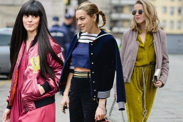 Najmodniejsze kurtki na wiosn� 2016. Street fashion z pokaz�w jesie�-zima 2016, po prawej Jessica Mercedes