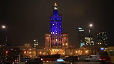 Światła udało się tak ustawić, żeby przypominały barwy Ukrainy (4 grudnia 2013 r.)