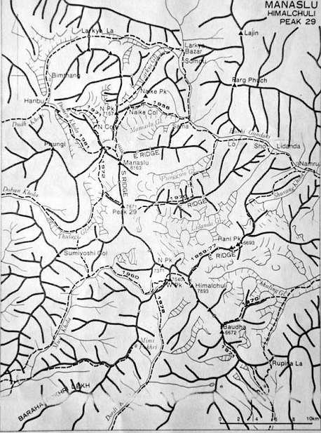 Mapa graniowa rejonu Manaslu