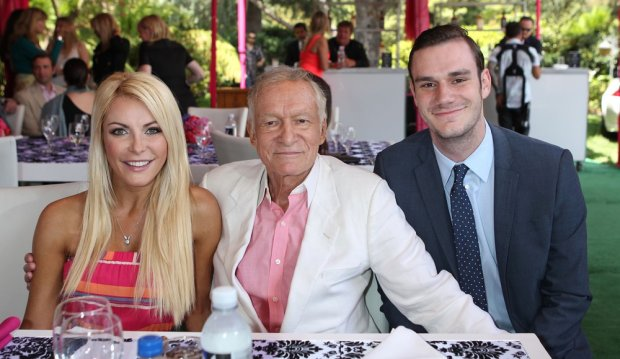 Playboys 2013 Playmate Of The Year luncheon at The Playboy Mansion in Holmby Hills, California on May 9, 2013.  Pictured: Crystal Harris, Hugh Hefner, Cooper Hefner