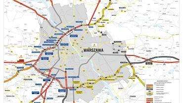 Mapa Warszawskiego Węzła Drogowego
