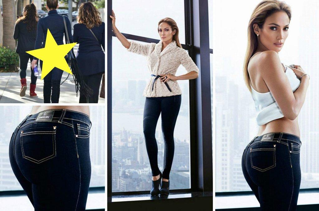 Zdjęcie numer 1 w galerii - Na plakacie pupa Jennifer Lopez jest idealna. W tych samych spodniach wyszła na ulicę i... To jednak lekki SZOK