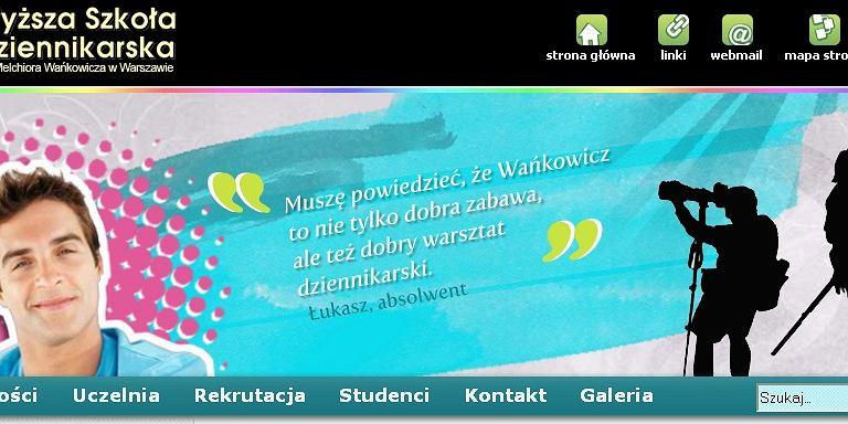 Strona www zlikwidowanej uczelni