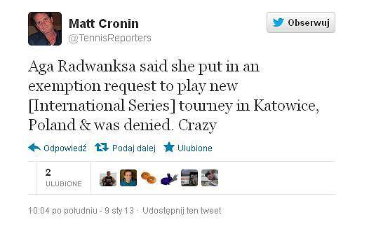Wpis Matta Cronina na temat Radwańskiej na Twitterze