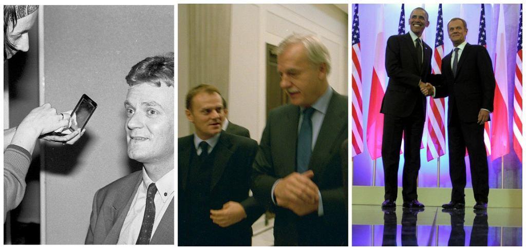 Donald Tusk na początku lat 90., po założeniu PO i z Barackiem Obamą (fot. Kuba Atys/Sławomir Kamiński/AG)