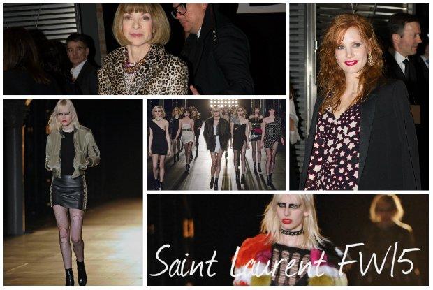 Saint Laurent jesie�-zima 2015: podarte rajstopy, nagie cia�o, upiorny makija�. Kolejna rockowa kolekcja buntownika [WYBIEG + GO�CIE]