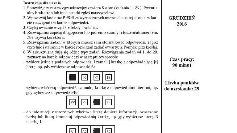 Próbny egzamin gimnazjalny z Operonem, matematyka, arkusz 1