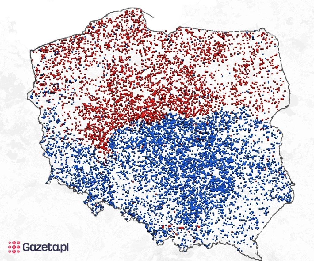 Końcówki -owo i -ów nałożone na jedną mapę