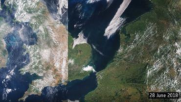 Susza w Europie widoczna na porównaniu zdjęć satelitarnych z czerwca i lipca